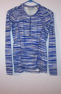 ATHLETA Size XS ACTIVE TOP Printed Pacifica UPF50 Long Sleeves 1/4 ZIP Running