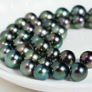 "8mm Natural Rainbow Black South Sea Shell Pearl Round Loose Beads Strand 15"" AAA"