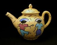 VINTAGE AUSTRALIAN POTTERY SIGNED MONKEYS MELBOURNE HANDPAINTED TEA POT MEMPHIS