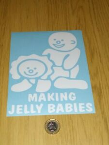 MAKING JELLY BABIES CAR GRAPHIC STICKER 16cm X 13cm WHITE FUNNY RUDE