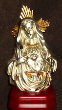 "6 1/4"" BUST IMMACULATE HEART OF MARY STATUE  RESIN / WOOD NIB SILVER"