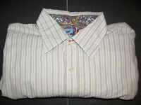 7 For All Mankind Mens LARGE Textured White Striped Button Up Shirt Long Sleeve