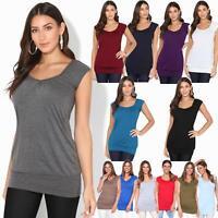 Femmes Top Haut T-Shirt Tee-Shirt Blouse Col Rond Manche Courte Uni Basique