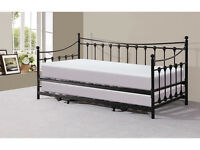 Traditional Victorian Metal 3FT Day Bed with Trundle Black or Ivory 50% off!