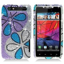 For Motorola DROID RAZR Crystal BLING Case Phone Cover Silver Purple Flowers