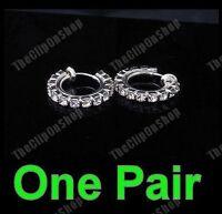 CLIP ON fake pierce-look DIAMANTE crystal RHINESTONE hoops HOOP EARRINGS