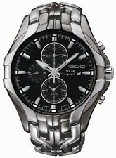 New Seiko SSC139  Solar Stainless Steel Chrono Black Dial Mens Watch