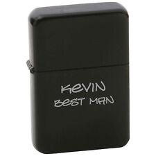 ENGRAVED Star Matte Black Finish Lighter in Black Tin Case PERSONALIZED
