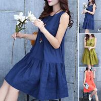 Cotton+Linen Vintage PLUS M-XXXL Womens Beach Sleeveless Tank Summer Loose Dress