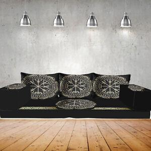 Floor sofa set,floor cushions,Viking Nordic compass,vegvisir / SHI_FSND