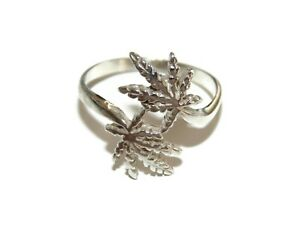 Vintage Sterling Silver Marijuana Cannabis Leaf Mary J Ring US Size 11 925