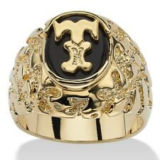 14K GOLD ONYX LETTER T INITIAL NUGGET RING SIZE GP 8 9 10 11 12 13