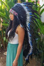 INDIAN HEADDRESS Blue Tips Chief War bonnet Costume Native American Halloween