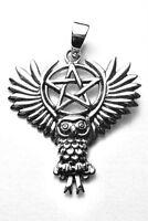Fliegende Eule Pentagramm Anhänger Silber Gothic Schmuck - NEU