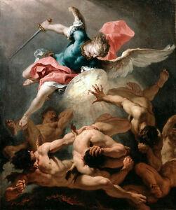 Art Oil painting Angel Le Grand Saint Michel killing Devil strong men Hand paint