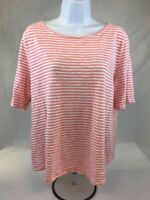 Talbots Women's Pink/White Striped Short Sleeve Cotton Blend T-Shirt Sz LP