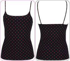 UK 8  JEWELTEX M&S Ladies laser-cut Camisole Vest Top BLACK WITH CERISE SPOT new