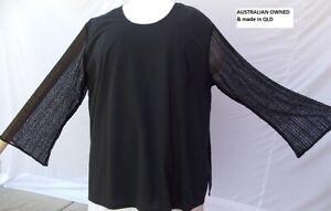 PLUS SIZE 28 = 5XL BLACK - Poly Cotton Stretch Knit LONG TOP & LONG LACE SLEEVES