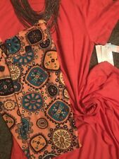 LulaRoe OUTFIT L Heathered Coral Pink Carly Dress TC2 Leggings Medallions NWT