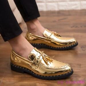 Mens Rivet Slip On Loafers Wedding Shiny Leather Brogues Oxfords Tassel Shoes SZ