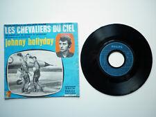 Johnny Hallyday 45T SP Les Chevaliers Du Ciel pochette Bleu label bleu plastique