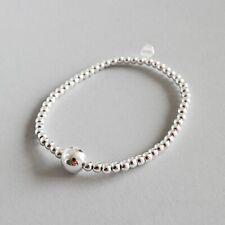 Handmade Round Beads Bracelet for Women Solid 925 Sterling Silver Fine Jewelry