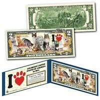 I LOVE CATS Genuine Legal Tender Official U.S. $2 Bill - CATS KITTENS