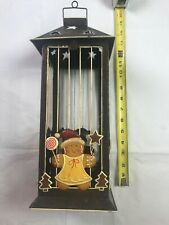 Hanging Hurricane Lantern Style Candle Holder With Gingerbread Girl