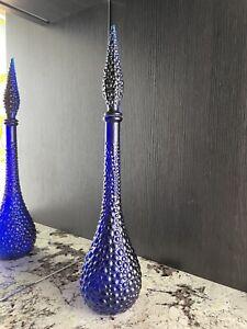 Rare Cobalt Blue Hobnail Genie Bottle Decanter Empoli RESIN Stopper