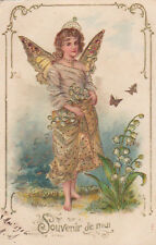 Fairy In Gold Butterflies Lily Of The Valley Original Antique Art Postcard