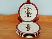 THE CELLAR CLR 24 MACY'S  HOLIDAY CHRISTMAS TREE TOPIARY SET OF 5 SALAD PLATES.