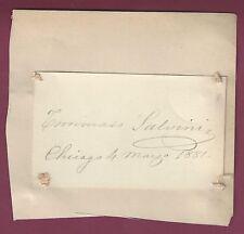 Tommaso Salvini, Actor, Signed Card, 1881, COA, UACC RD 036