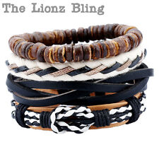 All Natural Vintage style 4 Stacked Genuine Leather, Rope & Wood Bead Bracelets