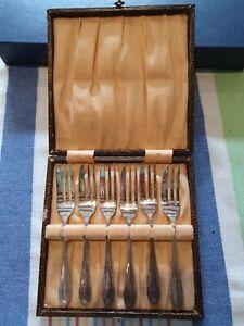 Vintage Silver Plated Dessert Forks In Original Box.