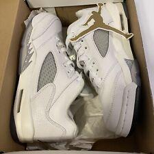 Nike Air Jordan Retro 5 Low GG GS White Metallic Wolf Grey sz 6Y 819172 122 EUC