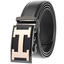 Business Men's Real Leather Belt Automatic Buckle Belt Ratchet Strap Jeans Dress