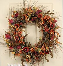 Autumn Meadow Fall Thanksgiving Door Wreath 20-22 Inches Indoor Outdoor Decor