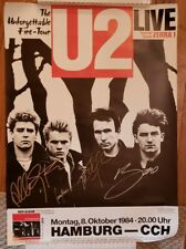U2 signed event poster *** Unforgettable fire *** 1984 Germany *** 4 members ***