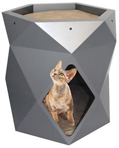 Pet  Diamond Tower, Cat House, Indoor 2-Tier Hexagon beige, 50 x 48 x 48 cm