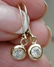 0.40Ct Round Cut Diamond Dangle Drop Lever Back Earrings 14K Yellow Gold Over