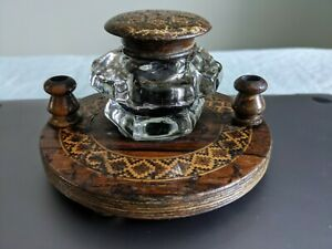 1880 Tunbridge Ware wooden wood glass inkwell inkstand inlaid mosaic Kent wells