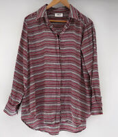 MELA PURDIE super Soft Striped Long Sleeve Blouse Technical Polyester 12-16