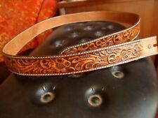 sz 46 True Vtg 80s LEATHER Cowboy Tooled 3D Authentic Western Belt