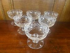 EXCELLENT QUALITY Crystal SET of 6 FINELY CUT SUNDAE DISHES