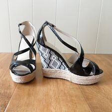 Karen Millen Black Patent Leather Wedge Sandals Geometric Pattern Heel UK 4