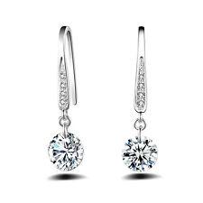Crystal Rhinestone Drop Hook Silver Plated Women Dangle Earring Ear Stud Elegant