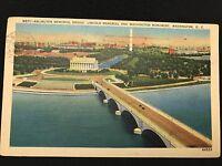 Arlington Memorial Bridge Lincoln Memorial Washington DC  postcard  1939 44526