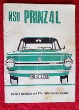 NSU PRINZ 4L Owner's Handbook and After Sales Booklet 1970