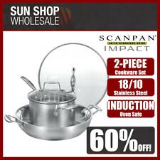 100% Genuine! SCANPAN Impact 2pce Set 32cm Chef's Pan & 20cm Saucepan! RRP $349!