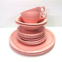 Boonton Ware Dishes Pink Set of 12 - Serving for 2 MCM VTG Camping RV Melmac